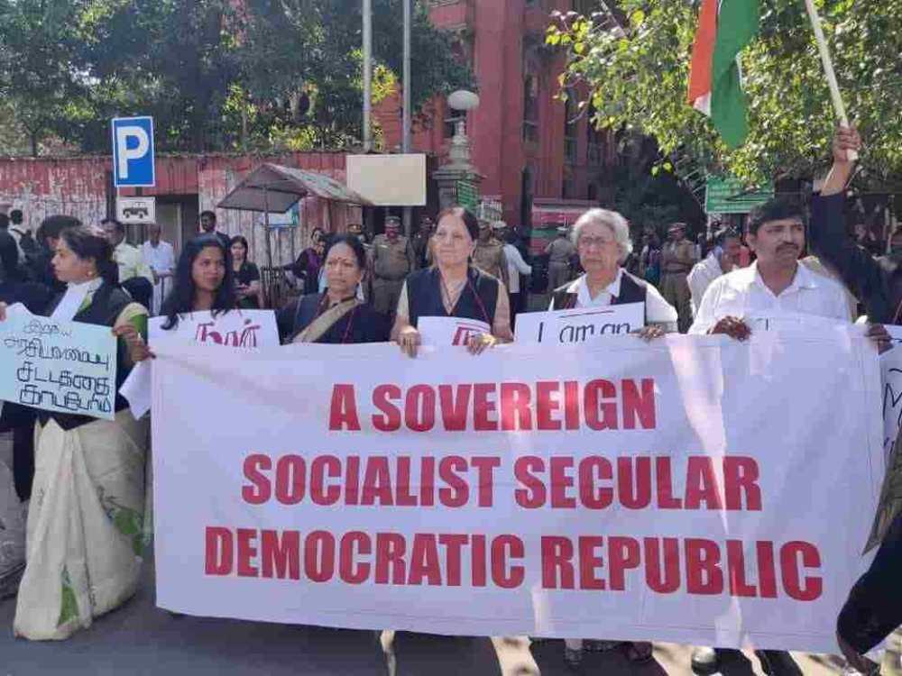 मद्रास हाईकोर्ट के वकीलों ने CAA के खिलाफ किया विरोध प्रदर्शन, देखिए फोटो