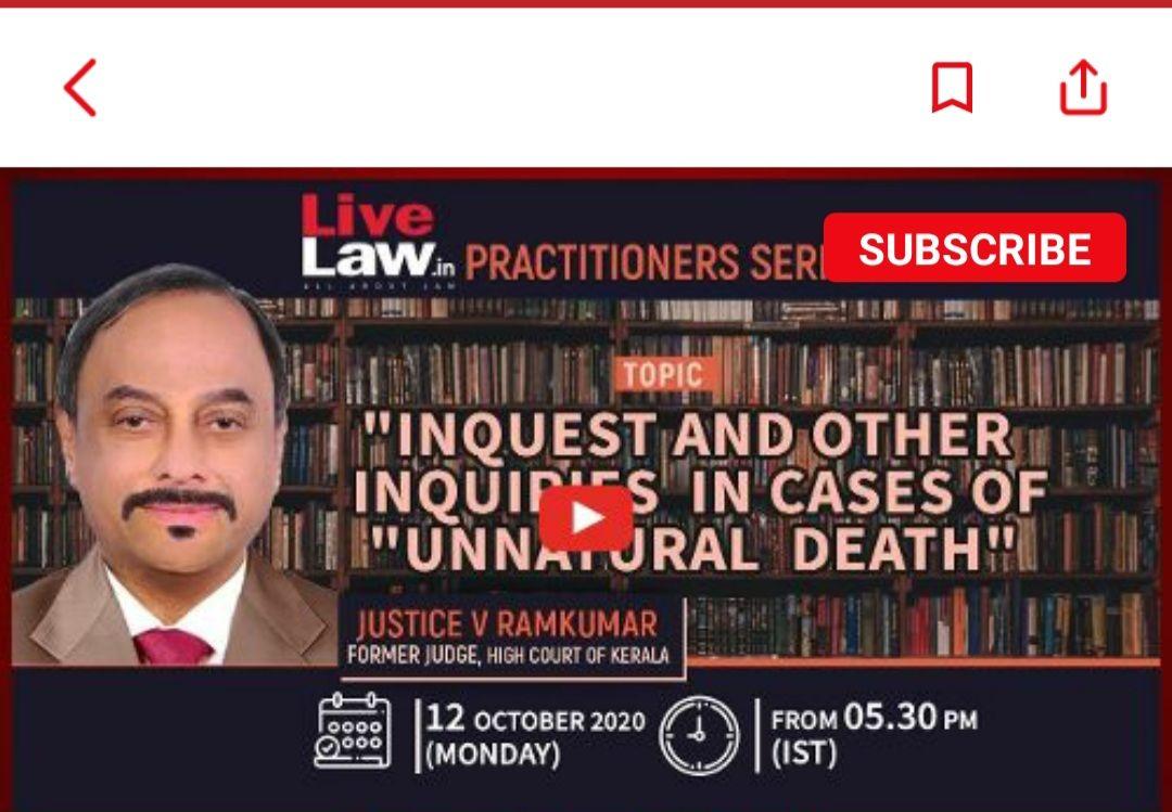 Live Now : अप्राकृतिक मौत के मामलों में पूछताछ  जस्टिस राम कुमार के साथ वेबिनार